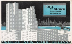 Hotel St. George, Clark St., Brooklyn, N.Y., Early Postcard, Unused