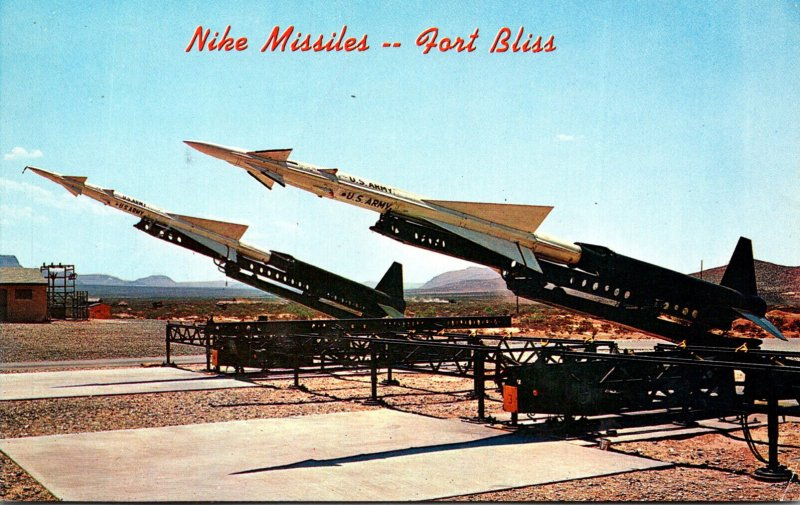 Texas El Paso Fort Bliss Twin Nike Missiles On Display 1963