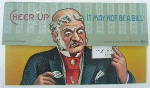 MECHANICAL COMIC ANTIQUE POSTCARD - IT MAY NOT BE A BILL