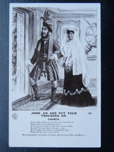 Scottish Comic Song JOHN, GO AND PUT YOUR TROUSERS ON.... c1908 RP Postcard