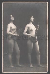 101266 NUDE Female Women as MUSICIAN vintage Real PHOTO RARE