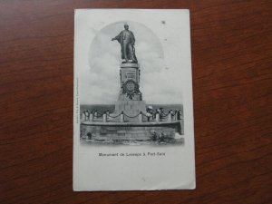 French Indo China Postcard Used 1904 Postmark Lesseps Monument Port Said