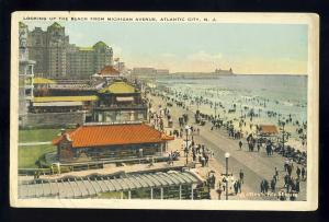 Atlantic City, New Jersey/NJ Postcard, View Of Beach From Michigan Avenue, 1923!