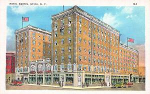 Hotel Martin, Utica, New York, Early Linen Postcard, Unused