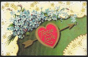 True Love Arrow Through Heart & Violets Unused c1910s