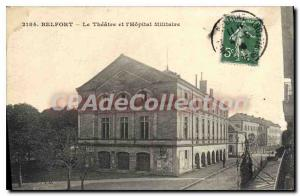 Old Postcard Belfort Theater and the Military Hospital