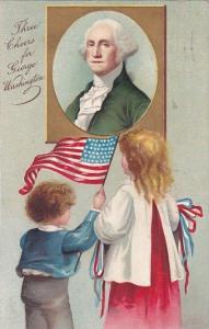 George Washington Children Waving Flag 1909