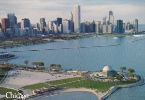 Illinois Chicago Lakefront Skyline With Grant Park And Monroe Harbor Across F...