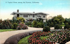 California Typical Home Among The Flowers Curteich