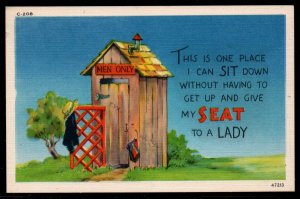 Color PC Men Only Don't  Have to Give My Seat to a Lady Unused