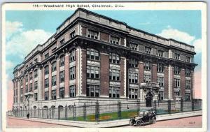 Cincinnati, Ohio Postcard WOODWARD HIGH SCHOOL Street View Kraemer 1934 Cancel