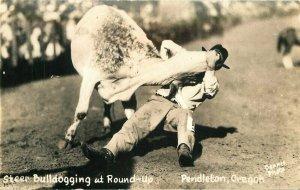 Cowboy Dennis Rodeo Western Pendleton Oregon 1930s RPPC Photo Postcard 8137