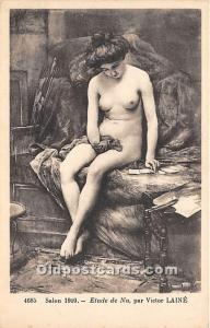 Etude de Nu Par Victor Laine Nude Unused light yellowing on back from age