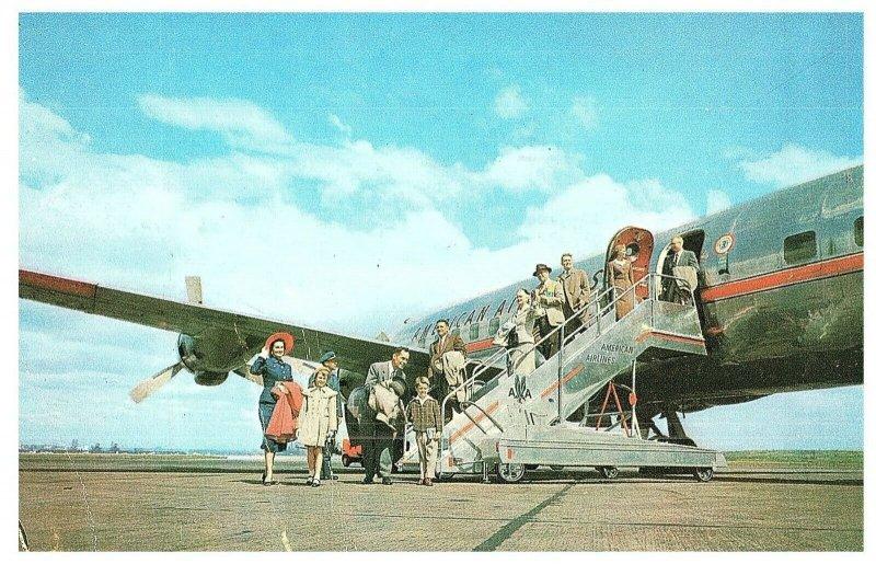 Expédié DC-6 Bleu Ruban Aircoach Américain Airlines Carte Postale 1955