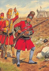 Postcard Uniforms of The Royal Marines, 1st & 6th Regiments 1741, Catagena #37-1