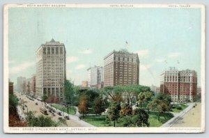 Detroit Michigan~Grand Circus Park West~Hotel Statler-Tuller~D Whitney Bldg~1910