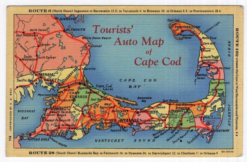 Tourists' Auto Map of Cape Cod