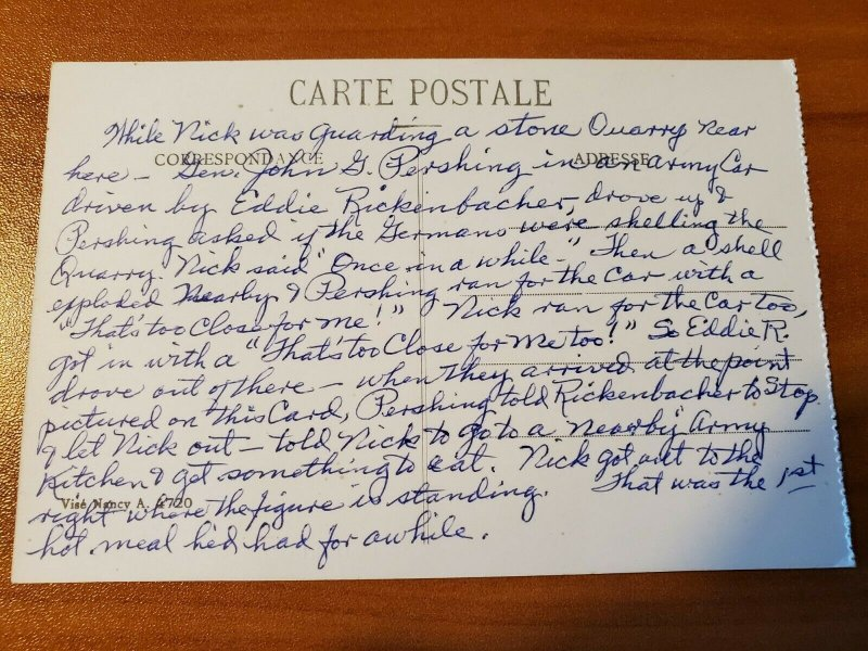 Antique WW1 Postcard with Story about Eddie Rickenbacker and General Pershing