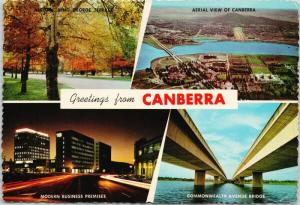 Greetings from Canberra Australia AU Multiview c1968 Postcard D59