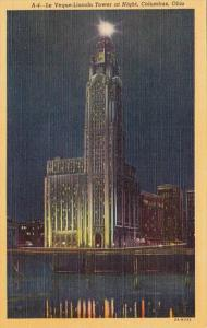 Ohio Columbus Lincoln Tower At Night Curteich