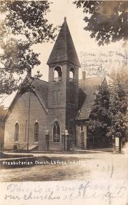 Ladoga Indiana~Presbyterian Church~Dirt Road~Couldn't Find School~1908 RPPC