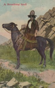 Cowgirl on horse , A Breathing Spell , 1909 , 00-10s