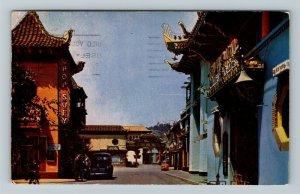 Los Angeles CA-California Chinatown Chop Suey Classic Cars Chrome c1950 Postcard