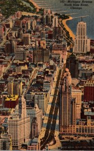 Illinois Chicago Aerial VIew Michigan Avenue North From River Curteich