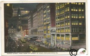 Vintage Postcard Night Scene Market Street Philadelphia PA Trolley Clock Tower