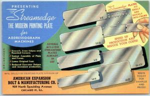 1940s Chicago IL Ad Postcard AMERICAN EXPANSION BOLT & Mfg. Co. Printing Plate