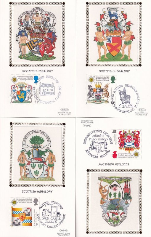 Benham Scottish Heraldry Castle Coat Of Arms 4x Silk Postcard Card s