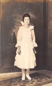 Pretty Brunette Lady All White~Ruffle Dress~Big Hair Bow~Hose & Shoes~1919 RPPC