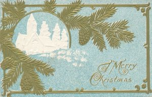 Christmas Greetings - Pine Branches and Church - DB