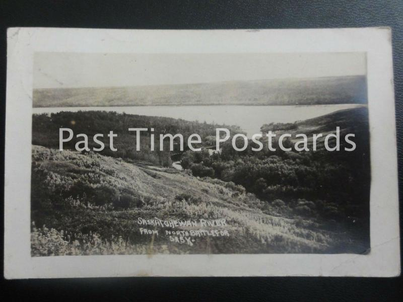 c1913 RPPC - Saskatchewan River from North Battlefor - Sask