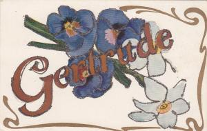 First Name GERTRUDE, Pansies, Glitter Detail, 00-10s
