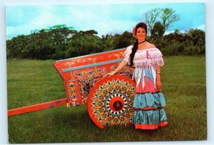 *1970s Costa Rica Carreta Oxcart Cart Kart Folk Art Woman Vintage Postcard A24