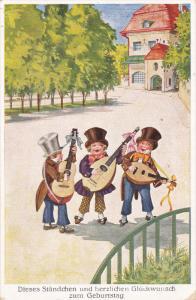Three men playing mandolins wearing top hats at a square, 10-20s