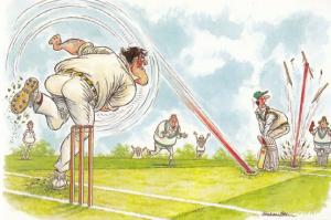 Howzat Fastest Ever Cricket Bowl Bowling Exploding Wicket Comic Humour Postcard