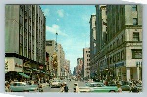 Montreal QC-Quebec Canada, Ste Catherine St & Peel, Chrome Postcard