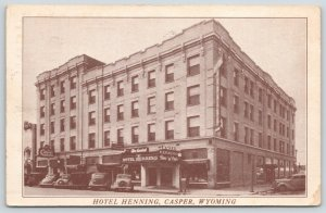 Casper Wyoming~Hotel Henning~Air Cooled Bar & Cafe~Postal Telegraph~1930-40 Cars