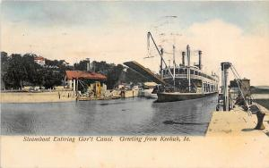 Paddle Steamer Government Canal Keokuk Iowa 1907 postcard