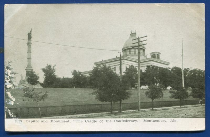 Confederate Monument Montgomery and Capitol Alabama al postcard #3