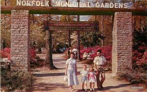 1960s Norfolk Virginia Entrance Azalea Gardens Rowe postcard 10885