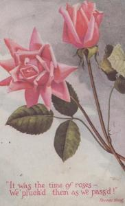 Plucking Roses Rose Flowers Antique Thomas Hood WW1 Postcard