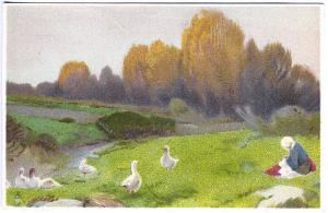 Tuck Chromograph Continental Series Woman Watching Geese in Field Postcard