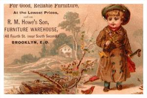 Child in woods  R.M. Howe's Brooklyn E.D. Victorian Trade Card