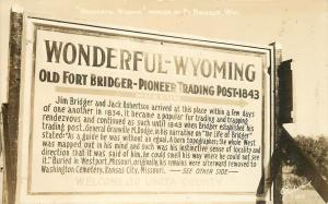Fort Bridger Wyoming~Marker Sign~Pioneer Trading Post 1843~1940s Real Photo~RPPC