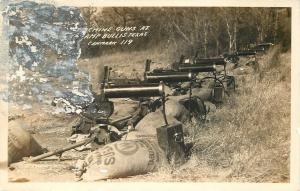 Camp Bullis Texas~Army~Machine Guns Lined Up~Sugar Sandbags~1930-40 RPPC