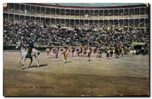 Old Postcard Bullfight Bullfight Entrada of Cuadrilla