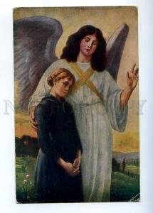 233249 MOURNING Woman GUARDIAN ANGEL by LINGNER Vintage PC